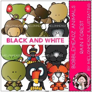 Rain Forest Animals clip art - Bobbleheadz - BLACK AND WHITE- by Melonheadz