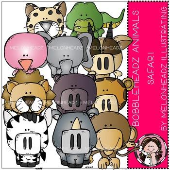 Safari Animals clip art - Bobbleheadz - COMBO PACK- by Melonheadz