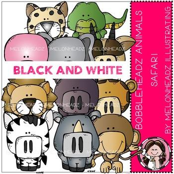 Safari Animals clip art - Bobbleheadz - BLACK AND WHITE- by Melonheadz