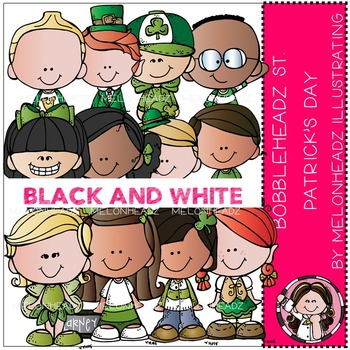 St. Patrick's Day clip art - Bobbleheadz - BLACK AND WHITE- by Melonheadz