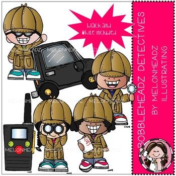 Bobbleheadz clip art - Detectives - Mini - by Melonheadz