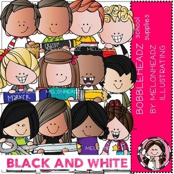 Bobbleheadz clip art - School Supplies - BLACK AND WHITE - by Melonheadz