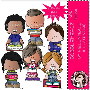 Bobbleheadz clip art - With Books - Mini - by Melonheadz