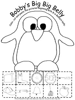Beginning B sounds, Winter Penguin Worksheet