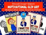Bobcat-Cougar Mascot Motivational Clip Art Modeled after Iconic American Posters