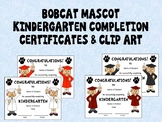 Bobcat Mascot Kindergarten Completion Certificates and Clipart in School Colors