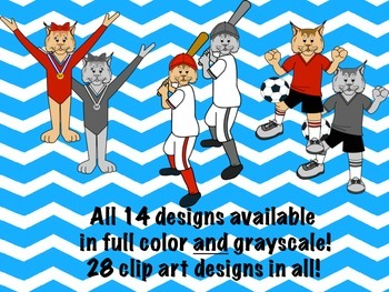 Bobcat Mascot Sports Clip Art featuring Red, White, and Black Uniforms