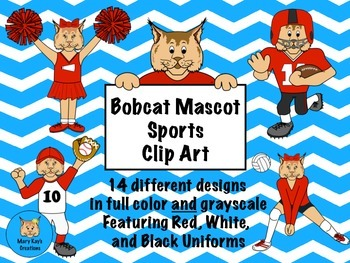 Bobcat Mascot Sports Clip Art featuring Red, White, and Bl