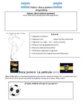Boca Juniors: The Movie Pre-viewing Activities (Argentina)