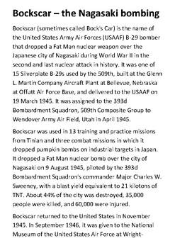 Bockscar  - the Nagasaki bombing Handout