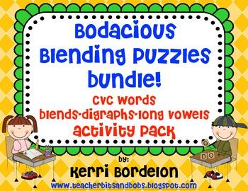 Bodacious Blending Puzzles Bundle!- CVC's, Blends, Digraphs, & Long Vowels Pack