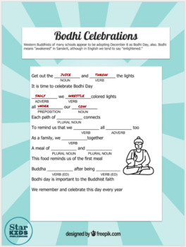 Bodhi Day Mad Libs *Google Slides and Printables