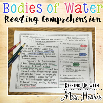 Bodies of Water - Comprehension Pack
