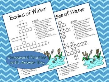 Bodies of Water Lesson, Power Point Presentation, and Crossword Puzzle