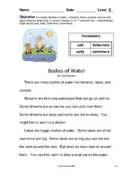 Bodies of Water: Level E Reader