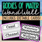 56 Bodies of Water Science Vocabulary Word Wall Terms with EDITABLE Cards