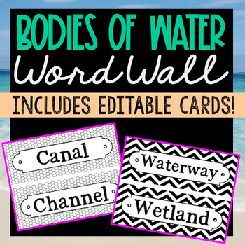 56 Bodies of Water Science Vocabulary Word Wall Terms or F