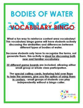 Bodies of Water Vocabulary Bingo