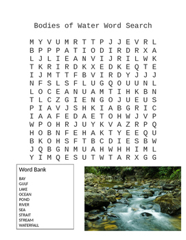 Bodies of Water Word Search