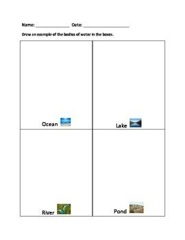 Bodies of Water Worksheet Set