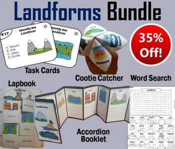 Bodies of Water and Landforms Task Cards and Activities Bundle