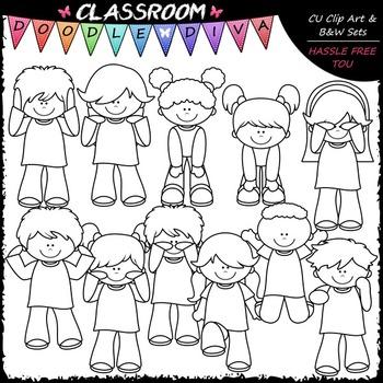 Body Actions Song Clip Art - Movement Kids Clip Art & B&W Set