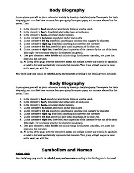 Body Biography Character Study To Kill a Mockingbird