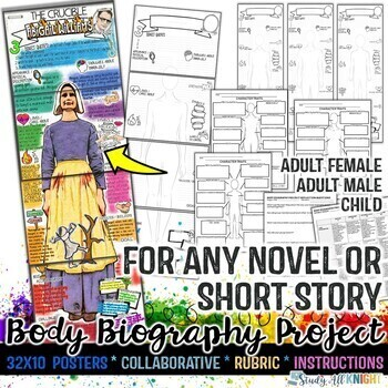 Body Biography Project Bundle, For Any Novel, Short Story, Play, or Film