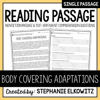 Body Covering Adaptations Reading Passage