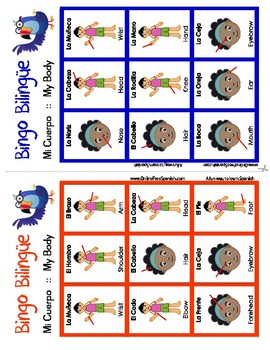Body - El cuerpo - Bingo Bilingüe - Bilingual bingo