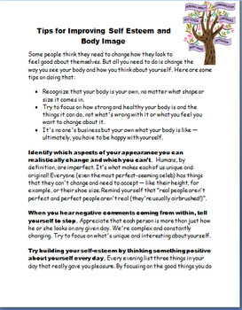 Body Image and Self Esteem for Teens- lesson and activities