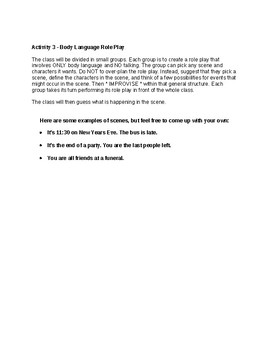 Body Language Lesson Plan and Activities