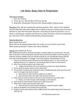Body Odor & Perspiration W.5.2, SL.5.1c, RL.5.6, RI.5.4, R