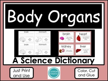 Body Organs Color, Cut and Glue Dictionary