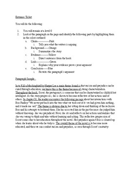 Body Paragraph Graphic Organizer: To Kill A Mockingbird