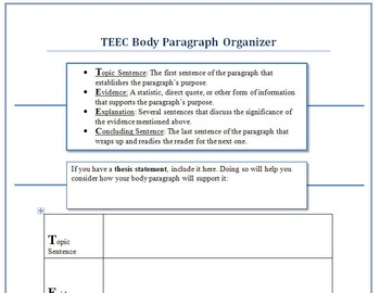 paragraph organizer templat by chris gilbert teachers pay