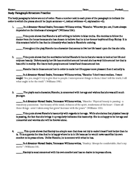 Body Paragraph Structure Practice Sheet