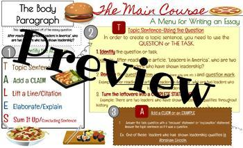 Body Paragraph Writing-Placemats and Reference Sheets