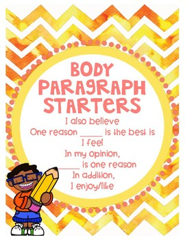 Body Paragraphs for Opinion Writing