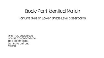 Body Part Identical Match for Life Skills and Autism Classrooms
