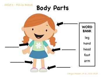 Body Parts Vocabulary Visuals & Labeling (with Progress Monitoring)