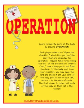 Body Parts Activity (OPERATION)