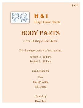 Body Parts Bingo Game (H&I Bingo Game Sheets) - 3 X 3