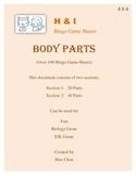 Body Parts Bingo Game (H&I Bingo Game Sheets) - 4 X 4