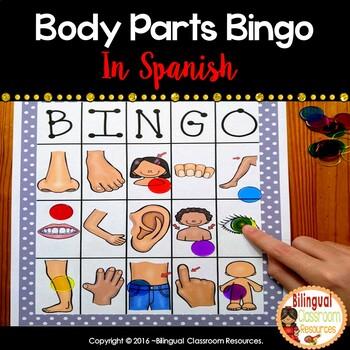 Las partes del cuerpo - Body Parts Bingo in Spanish | TpT