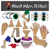 Body Parts Clip Art in Color and Black Line