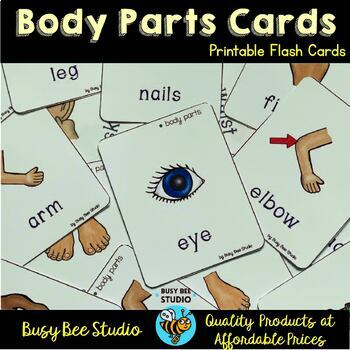 Body Parts Flash Cards & Worksheets | Teachers Pay Teachers