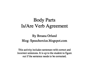 Body Parts Is-Are Verb Agreement