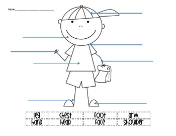 body parts labeling activity by creative classroom lessons