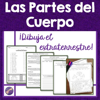 Body Parts, Las Partes del Cuerpo, Draw the Alien Activity, Interactive Spanish
